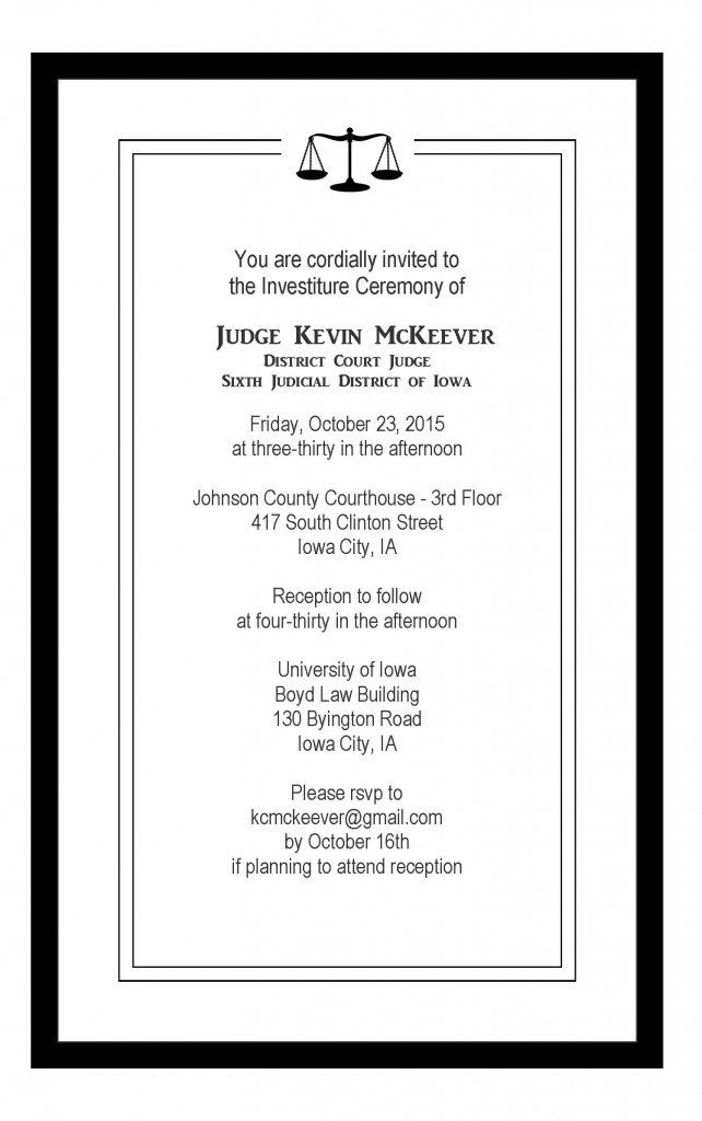 McKeever Investiture Invitation